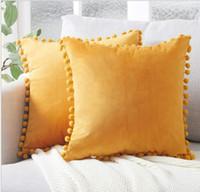 Décoratif Taie d'oreiller 45 * 45 cm velours doux Cusion Couverture Avec Frange balle Double Côté Accueil Hôtel Carré Décoratif Taie D'oreiller