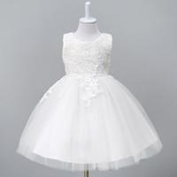 1-8year Yürüyor Bebek Tutu Elbise Beyaz Kırmızı Balo Parti Sahne Prenses Elbiseler Gelinlik Çiçek Kız Giysileri Vestido Infantil J190706