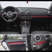 Araba Şekillendirme Merkezi Konsol Pano Trim Araba Kapı Dekorasyon Kapak Trim Karbon Elyaf Sticker için Audi A3 8V S3 Oto Aksesuarları