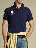 Homens moda americana T-shirt sólidos Big Pony bordado EUA Itália França Grã-Bretanha clássico Polo Bandeira shirt roupas de negócios Branco Azul