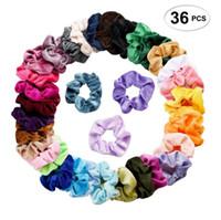 36 colori Solid Lady Scrunchies per capelli Fasce elastiche per capelli Colore puro Bobble Sports Dance Velluto Morbido e affascinante Scrunchie Hairband