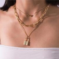 cadeia de moda de multi camada colar de corrente coração charme gargantilha bloqueio pingente pedaços de corrente de prata cor banhado a ouro