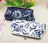 Brief National Style Floral Printing Long coin purse canvas ...