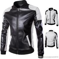 Herren Designer Lederjacken plus Größe Panelled Stehkragen Reißverschluss Outwear Mode Herren Motorradjacke