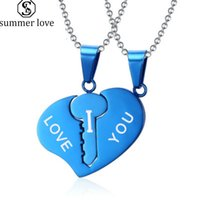 Pingente Colar de aço inoxidável do amor do coração Coração quebrado colares para as mulheres Homens Casal amante do presente do dia dos Namorados Jóias-Z