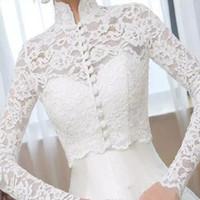 Винтажная новая белая / слоновая слоновая свадебная куртка свадебные болеролы с длинным рукавом кружевной аппликации верхней высокой шеи на заказ