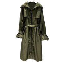 여성 트렌치 코트 도착 2021 봄 패션 롱 코트 캐주얼 나비 슬리브 후드 여성 빈티지 지퍼 outwear