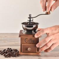 5 adet yüksek kaliteli Seramik Millstone DHL ile Klasik Ahşap Manuel Kahve Öğütücü Paslanmaz Çelik Retro Kahve Baharat Mini Burr Mill