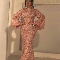 Sexy Bling Sirena Serata Abiti da sera Alto collo lungo Poeta Manicotti Paillettes di cristallo Lunghezza Plus Size Formale Party Dress Pageant Prom Gowns