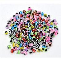1000PCS / lot Hamsa Mão misturados Evil Eye contas redondas Spacer Beads Fit Europa Beads Jóias Fazendo 4 5 6 8 10 milímetros