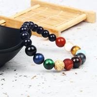 Vente chaude Pierre Bijoux Huit Planètes Perlé Bracelet Hommes Mix Naturel Pierres Univers Yoga Yoga Chakra Bracelets Solaires Bijoux