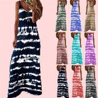 Robes d'été Europe et Amérique Robe à la mode Écran à rayures Débardeur Plus Taille Rose S / M / L / XL / 2XL / 3XL / 4XL / 5XL