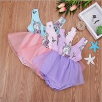 Çocuklar Giysi Tasarımcısı Unicorn Kızlar Tulum Bebek Yaz Baskılı Tulumlar Toddle Moda Tutu Elbiseler Tül Onesies Bebek Bodysuits A5929
