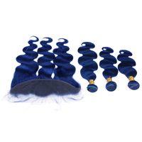 다크 블루 버진 브라질 인간의 머리카락 바디 웨이브 3 번들 프론트 클로져와 함께 우색 컬러 블루 13x4 전체 레이스 정면
