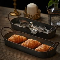 Vintage Metal Storage Tray Retro Dessert Fruit Cake Bread Pl...