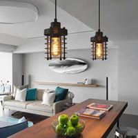 빈티지 산업 천장 조명 단일 헤드 철 케이지 디자인 펜던트 램프 주방 바 거실 교수형 가정용 조명