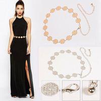 2020 Trend donne di modo del metallo catena Link cintura a vita alta sottile dell'anca di sera del partito Vintage Luxury Gold Coin rotonda Charm Cintura
