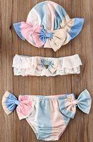 الوليد الاطفال طفلة الأزهار معطلة الكتف حمالة بلايز ملابس السباحة بيكيني السراويل ثوب السباحة مع قبعة السباحة