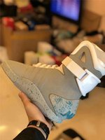 2020 Authentic Air Mag Back To The Future brilham no escuro Sneakers Grey Marty Mcfly '; Shoes S LED aceso Mags Black Red Botas Siz