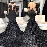 Sexy Black Mermaid Long Prom Dresses 2020 See Through Top Ap...