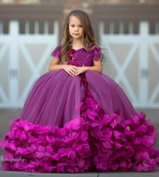 Adorabile abito da ballo viola Girls Girls Pageant Abiti Party sera usura per adolescenti arabo increspato Farfalla Fiori Bambini Bambini Abbigliamento formale Quincanear