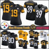 90 T.J. Watt Custom Men Women Youth Pittsburgh Football Jerseys Steeler JuJu Smith-Schuster Minkah Fitzpatrick Ben Roethlisberger Devin Bush