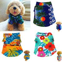 El perro de perrito informal camiseta floral hawaiano campo chaleco animal doméstico del gato ropa de verano Beach