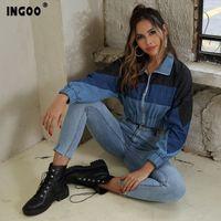 Ingoo Patchwork Denim Ceket Kadın Moda Batwing Kollu Kısa Ceket Rahat Lokomotif Standı Yaka Fermuar Jeans Ceketler Kadın