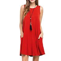 Yaz Casual Kadınlar Cepler Pamuk T-shirt Kolsuz Yeni Gevşek Katı Tank Elbise O-Boyun Artı Boyutu Kadınlar Mini Elbise Vestidos
