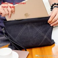Factory brand male bag original ecological double-sided cowhide men hand grip wear resistant grid leather casual hand wallet fashion leather