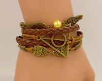Harri Potter Bracelet Death Hallows Retro PU Leather Cord Br...