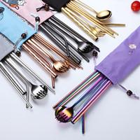 8 pçs / conjunto de talheres portáteis definido 304 Aço inoxidável conjunto de talheres 8 pçs / set chopsticks garfo colher conjuntos de palha de viagem Set Ljja3645-13