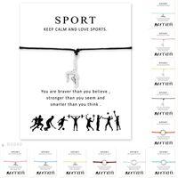 Filles réglable Bijoux Déclaration d'amitié avec la carte d'argent Bracelets de gymnastique pour les femmes