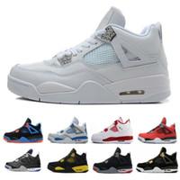 Mens 4 4 s tênis de basquete cactus jack jogo de cimento branco royal motor melhor qualidade dos homens tênis de marca sapatos de designers dos eua 7-13