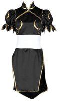 Costume da Cosplay di combattimento da combattimento di Street Fighter Chun Li nero da donna cheongsam