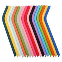 12 Colorfuls سيليكون سترو قابلة لإعادة الاستخدام بيند ومستقيم سيليكون القش 250 * 8 * 5MM لنقابة المحامين الرئيسية شرب القش