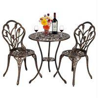 Ücretsiz kargo Toptan Sıcak satış Avrupa Tarzı Alüminyum Açık 3 Parça Lale Bistro Masa ve Sandalyeler Set