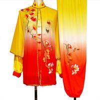 중국어 태극권은 기공 여성 남성 소녀 소년 성인 아이들을위한 꽃 자수 의류를 채비를 차려 쿵후 유니폼 태극권 대회 정장 의류
