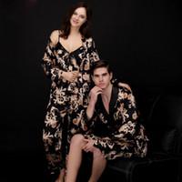 Kimono de seda Robe Amantes Casal Nightgown Conjuntos Para As Mulheres Homens de Banho Vestido Pijamas Grande Sexy Longo Nightwear Plus Size Pijama 3XL