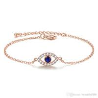 موضة روز الذهب والفضة اللون عين الشر كريستال الزركون سلسلة ربط أساور أساور للنساء الكريستال والمجوهرات هدية