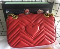 Klassisch Frauen Taschen Love Herz Wellenmuster Schulter-Beutel-Ketten-Handtaschen-Geldbeutel-echtes Leder-Dame Handtasche Kuriertaschen