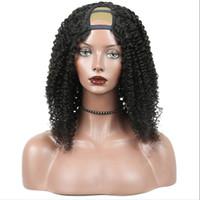 غريب مجعد U جزء الباروكة عذراء الشعر 100٪ غير المجهزة بيرو الشعر البشري شعار U-part الباروكات للنساء السود الجزء الأوسط جزء كبير كبير