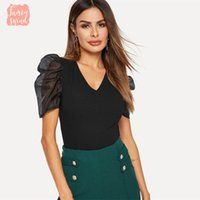 Puff luva Preto V Neck Tops Contraste malha de manga Puff Magro embutida Top Mulheres Spring Night Out manga curta Sheer