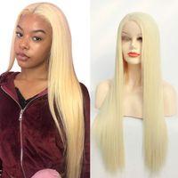 613 loiro claro amarelo parte dianteira do laço do cabelo sintético perucas longa reta de seda 27 # resistente ao calor Pré cabelo arrancado Moda feminina