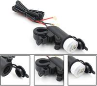 2016 CS-020 12V 오토바이 핸들 막대 장착 전원 소켓 범용 USB 충전기 구리 전원 소켓 퓨즈가있는 듀얼 USB 출력