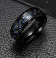 2019 Titan Stahl schwarze Carbon-Faser-Ring-Art- Rot Blau Ring Anel Masculino Mens kühlen Schmuck