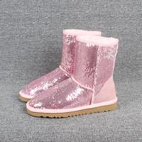 Natal austrália Clássico Curto Brilho Curto arcos botas Mulheres Designer de Inverno Botas de Neve Preto tornozelo Joelho Arco menina MINI Bailey Bota 35-41