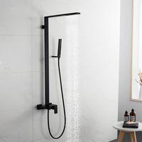 الحد الأدنى من تصميم الأسود حمام دش مجموعة نحاس الصلبة 3 طرق حمام دش ساحة الحنفية دش مطر رئيس كيت.