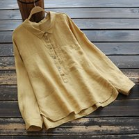 6687 Autumn New Style WOMEN' S Dress Flax Solid Color Fo...