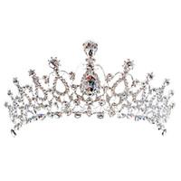 Lüks Gelin Taç Ucuz Ama Yüksek Kaliteli Sparkle Boncuklu Kristaller Kraliyet Düğün Taçlar Kristal Peçe Kafa Saç Aksesuarları Parti CPA790
